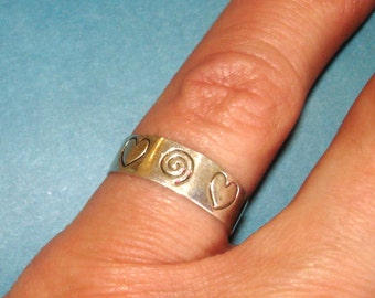 vintage silver hearts and swirl ring adjustable size 6