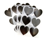 24 Heart Stickers - Set of Stickers - Black Stickers - Envelope Seals - Paper Stickers - Wedding Stickers - Sticker Pack - Gift Stickers