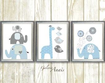 Blue and Gray, Nursery Decor, Boy's Room Decor, Kids wall art, Boy nursery art, Elephant, Giraffe - Set of three prints