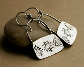 Native Stamped Sterling Silver Shield Earrings on Arched Wires . Rustic Tribal Wabi Sabi Southwestern Boho Jewelry