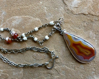 Fascinating Agate Pendant on Hand Wrapped Silver & Ghana Glass Bead Chain Necklace . Rustic Style Jewelry
