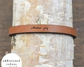 choose joy - adjustable leather bracelet  (additional colors available)