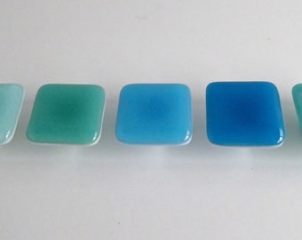 Spa Style Fused Glass Square Cabinet Door Knobs by BPRDesigns