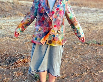 Hand Painted Silk Blazer -  made by Kathrin Kneidl for Resplendent Rags