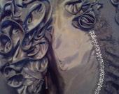 Victorian Style Black Bolero satin with ruffled sleeves.