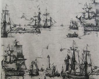 Vintage Fabric Novelty Sailing Ships Nautical Grey Cotton 80s