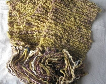 Offer *** Yellow Ochre Hand Knitted Long Soft Warm Merino Wraparound Scarf