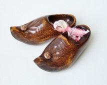 Vintage Wooden Clogs - Miniature Carved Wooden Shoes - Souvenir of Holland