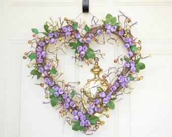 Purple heart shaped wreath Purple roses Wedding heart wreath Spring Wreath Summer Wreath Front door decor Grapevine Heart wreath