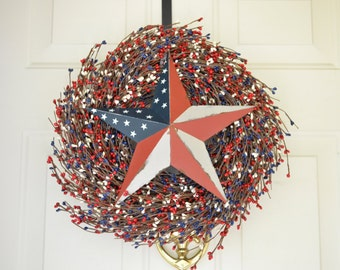 July 4th wreath Memorial Day Wreath Red White and Blue berries Patriotic wreath  Front door decor Americana Barn star Red White blue decor