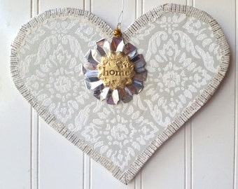 Vintage wallpaper Heart home wall hanging ornament grey light gray damask French text Valentine Wedding decor