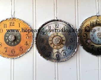 3 Clock ornaments clock face Romantic Shabby Cottage Chic French text antique vintage clock images S6