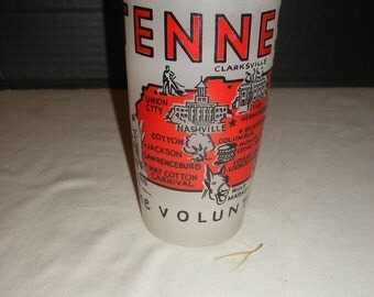 Vintage Tennessee Frosted Red Souvenir Glass  (Court)