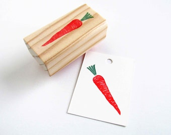 Carrot Stamp, Hand Carved Vegetable Stamp