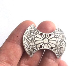 1 pc- Matte Silver plated connector, earring, charm-40x30mm-(408-033SP)