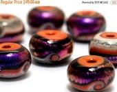 ON SALE 50% OFF Handmade Glass Lampwork Bead Set - Seven Magic Moment Waves Rondelle Beads 10706401