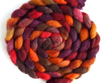 Polwarth/Silk Roving - Handpainted Spinning or Felting Fiber, Maple Leaf Rag