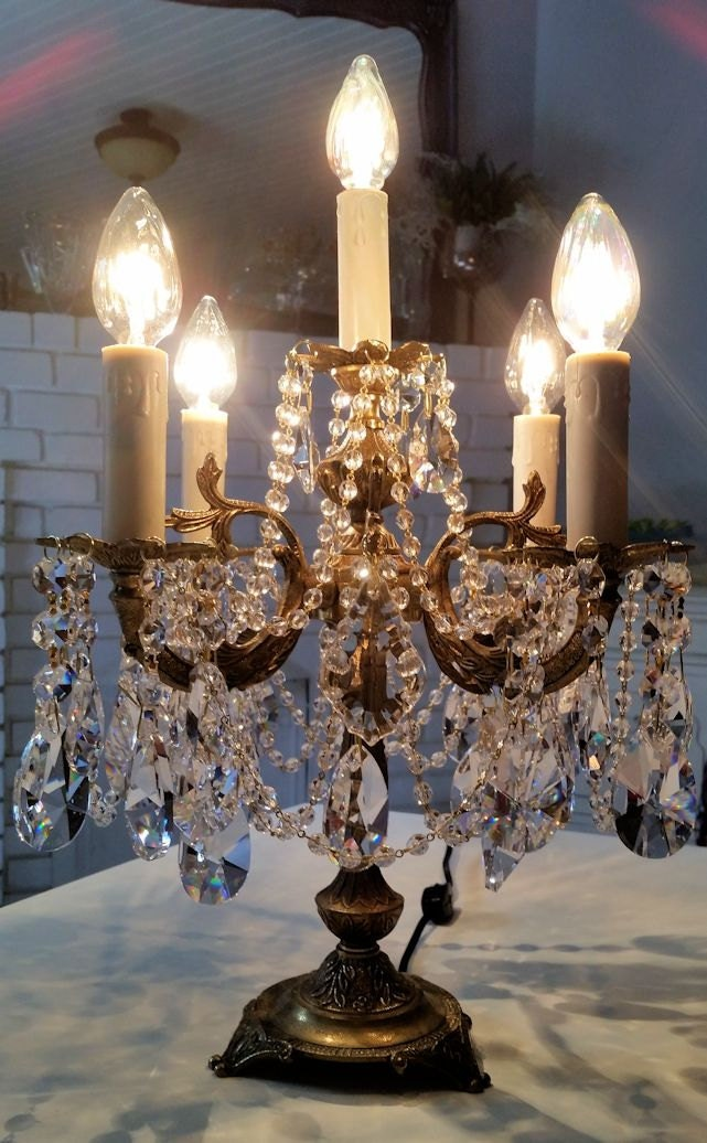 Antique Brass And Crystal Candelabra Antique Table