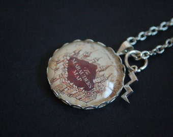 Harry Potter Hogwarts marauders map necklace
