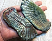 Wondrousrange Raku Dark Angel  Large Raku Ceramic Wing Set Blue Green Rust Gold Silver