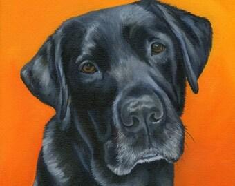 Custom Pet Portrait Painting, Pet keepsake, one dog or cat, animal art size 12 x 12