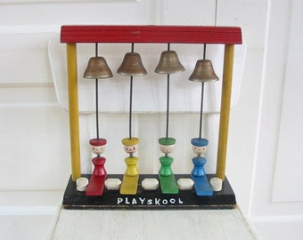 Vintage Wood Toy, Playskool Toy, Colorful Toy,  Retro People Toy,  Colors Toy, Playskool People