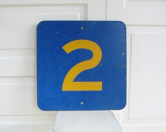 Vintage Metal Number 2 Two, Metal Sign, Yellow Blue Number 2 Two, Blue Sign, Art Wall Hanging, Industrial Decor
