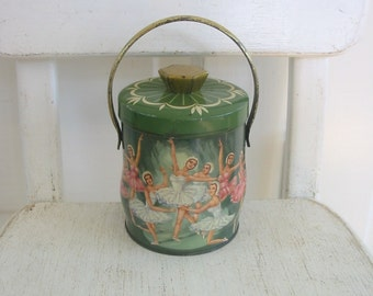 Vintage Biscuit Candy Tin Box Metal Tea Green Pink Ballet Dancers Ballerina