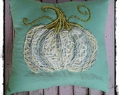 Rustic White Pumpkin Hand Embroidered Pillow Ready to Ship