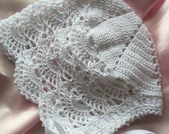 Newborn baby bonnet, Crochet baby bonnet, christening baby bonnet, heirloom baby bonnet, crochet christening bonnet, baby girl bonnet