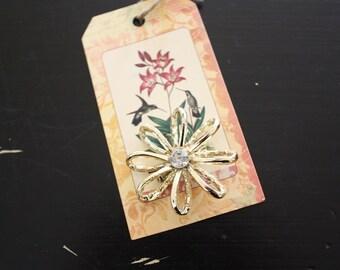 Vintage Flower Brooch with Rhinestone Center