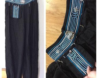 Embroidered Harem Pants, Vintage Boho Ethnic Pants Beaded Black Bohemian Vintage Harem Pants Elastic Aladdin Pants Silver Elephant Turquoise