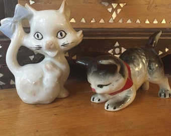 Porcelain Cats, Collectible Cat Figurines, Cat Collectibles, Cat Lover, White Cat, Porcelain Ceramic Cats Japan Kitten Figurine Pouncing Cat