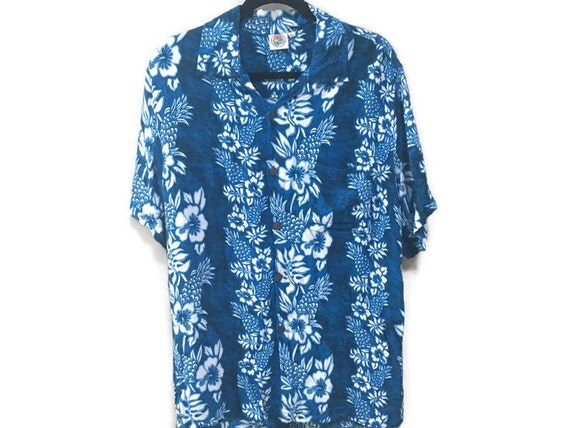 Mens xxl vintage shirt blue hawaiian shirt mens vintage for Mens xxl tall dress shirts