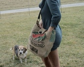 Burlap Shoulder Bag or Cross Body Bag from Recycled Coffee Bean Sack and New Leather OOAK by The Bent Tree Gallery