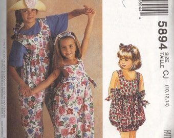 McCall's Pattern 5894 Girls' Jumpsuit in Two Lengths, Headband and Instructions for Sock Trim, Size CJ (10, 12,14) UNCUT Factory Fold