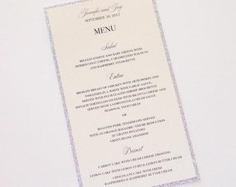 Jennifer Glitter Menu Cards - Wedding Menus - Elegant Menu Cards - Wedding Reception Stationery - Silver Glitter Ivory Sample