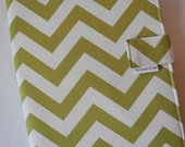 Legal Pad Fabric Notebook Organizer with Pockets, Pad, and Pen, Lime Chevron