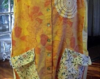 Junked Up Sundress/ Boho Layering/ Linen Jumper/ Plus Size Casual Funwear
