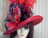 Kentucky Derby Hat, Red and Black Cavalier Wide brim Hat, Preakness, Belmont, Ascot, Victorian, Downton Abbey Hat