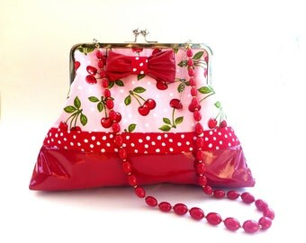 cherry rockabilly, red and pink cherry handbag, retro clutch, red vinyl purse, cherries clutch, rockabilly wedding, evening bag, gift