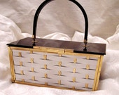 Reserved for EVA Vintage Metal Lucite Basket Weave Majestic Purse in Silver Gold Colored Metal and Black Lucite Top and Handle Gold Lining