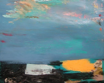 Orange, Blue and Black Abstract Landscape, Original mixed media painting on archival paper