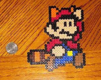 Raccoon Mario Perler Bead Magnet, Nintendo Super Mario Bros Magnet