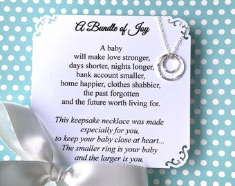 New Mom Gift Baby Shower Gift for First Time Mom Jewelry New Mommy Necklace Choice of 2 Poems Sterling Silver Circles Representing Mom Baby