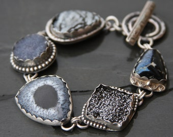 RESERVED oOo botryoidal hematite, druzy, dendritic opal, covellite, and sterling silver metalwork link bracelet