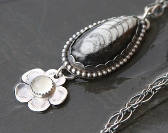 orthoceras white moonstone and sterling silver metalwork pendant necklace