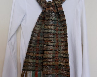"Handwoven, Soft and Warm, One-of-a-Kind Scarf 67""X6"" Multi-Color in Browns, Greens and Rusts"