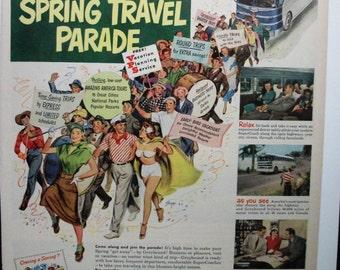 "Trav-B ... 112   ""Greyhound Lines ...""  Magazine Ad - April 1951"