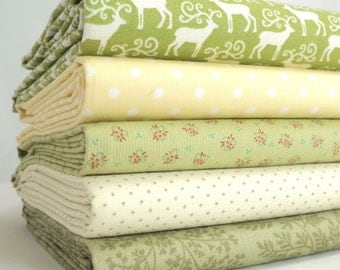 Fabric Bundle Reindeer 5  fat Eighths tissu
